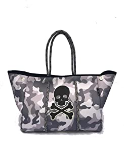 Neoprene Bag Tote Purse Skull Holiday Gifts Womens Large XLarge Totes Bags Travel Gym Studio Office School Pool Beach Teac...