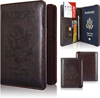 Passport Holder Cover, ACdream Travel Leather RFID Blocking Cover Case Wallet for Passport with Elastic Band Closure,
