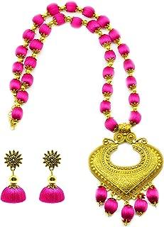 GOELX Antique Heart Pendant Silk Thread Necklace Set with Antique Jhumki in