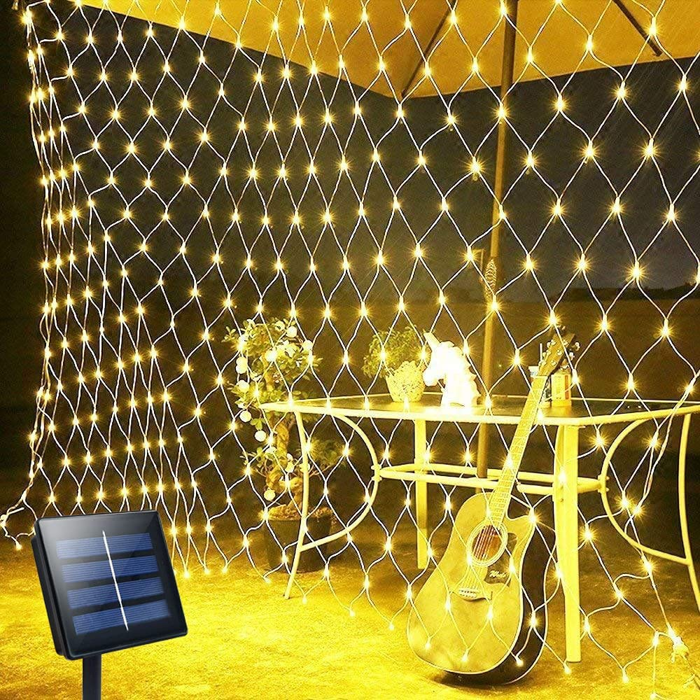 10ft x 6.5ft Solar Net Lights - 200 LED Solar Fairy Lights Outdoor, 8 Modes Waterproof Garden Lights, Auto On/Off Curtain String Lights, Icicle Lights for Wedding Party Yard Wall Decor (Warm White)