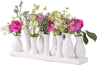 Home&Decorations VAS058 Floreros de cerámica – Set de floreros Decorativos para Bodas, Regalos, buffets, cocinas, Living 30 x 6 cm (1 Set de 10 jarrones Blancos)