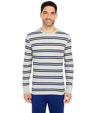 Polo Ralph Lauren Midweight Waffle Stripe Long Sleeve Crew (Andover Heather/Cruise Navy Stripe/RL2000 Red Pony Player) Men