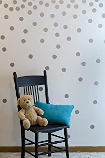 Wall Decal Dots (200 Decals) | Easy to Peel Easy to Stick + Safe on Painted Walls | Removable Metallic Vinyl Polka Dot Decor | Round Sticker Large Paper Sheet Set for Nursery Room (Metallic Silver)