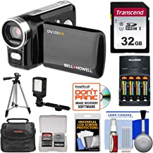 Bell & Howell DV200HD HD Video Camera Camcorder with Built-in Video Light with 32GB Card + Batteries & Charger + LED Light + Tripod + Kit