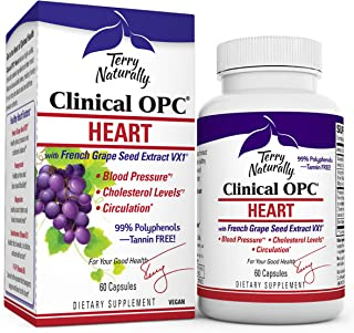 Terry Naturally Clinical OPC Heart - 600 mg Grape Seed Complex, 60 Vegan Capsules - Cardiovascular Support Supplement, Pro...