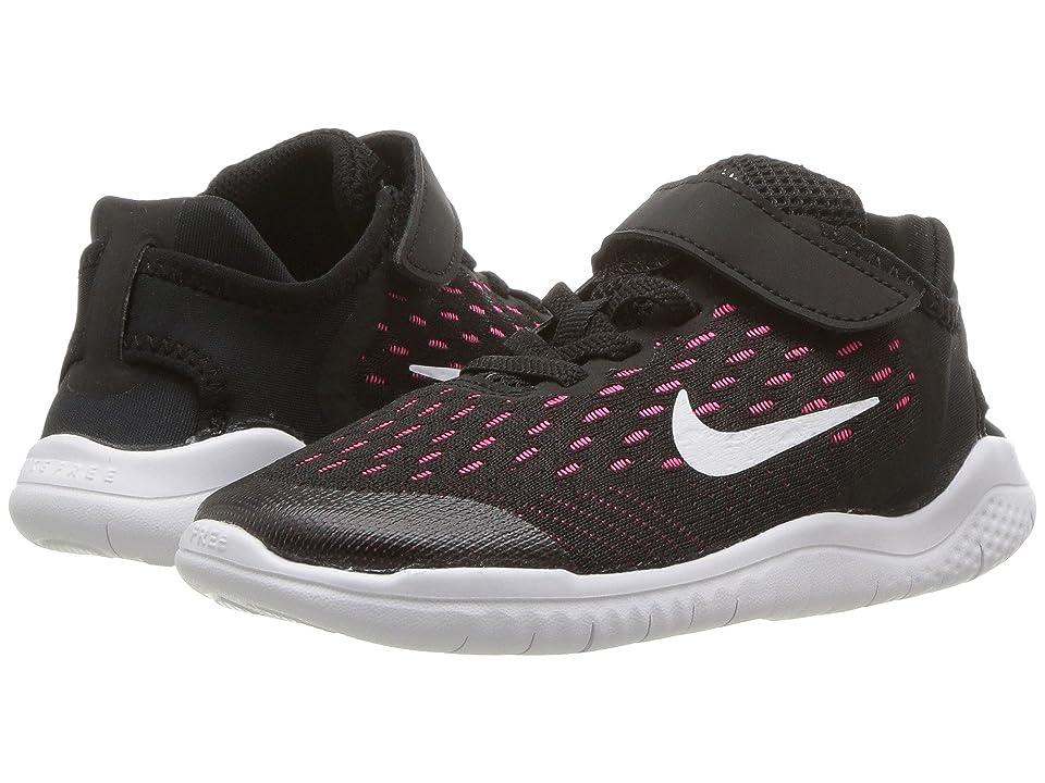 Nike Kids Free RN 2018 (Little Kid) (Black/White/Racer Pink/Volt) Girls Shoes
