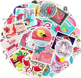 Zonon 100 Pieces Flamingo Stickers Waterproof Vinyl Flamingo Laptop Decals Cute Flamingo Graffiti Sticker Set for Water Bo...