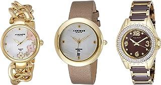 Akribos Xxiv Women's Ak887Yg Quartz Diamonds Bracelet and Strap Watches Set, Multicolour Band, Analog Display