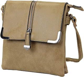 irisaa Damen Handtasche Umhängetasche Sling Kleine Tasche Used Look für Damen mit Reißverschluss