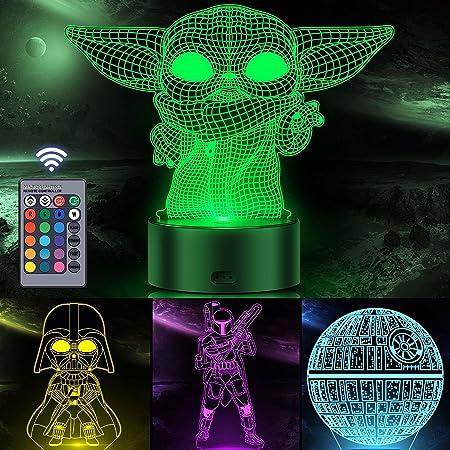 Veilleuse Star Wars 3D Illusion pour enfants, décor Orenic 4 motifs et 16 couleurs changeantes Lampe avec télécommande pour chambre à coucher, cadeaux Star Wars pour garçons et filles
