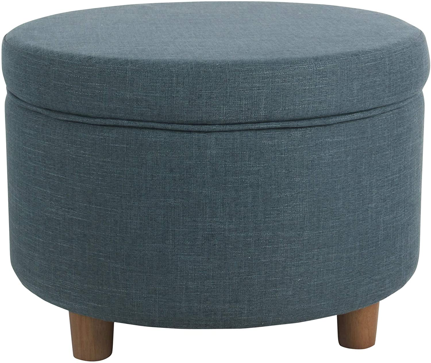 Memphis Mall HomePop Round Upholstered Storage Teal Selling Linen Ottoman