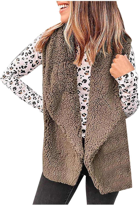 Women Fuzzy Vest Coat Lapel Cardigan Sleeveless Tops Faux Fur Vest Jacket Waistcoat Short Outwears