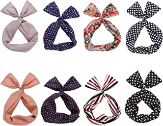 Twist Bow Wired Headbands Scarf Wrap Hair Accessory Hairband by Sea Team (8 Packs) (Multicolored)
