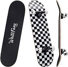 WhiteFang Skateboards 31 Inch Complete Skateboard Double Kick Skate Board 7 Layer Canadian Maple Deck Skateboard for Kids ...