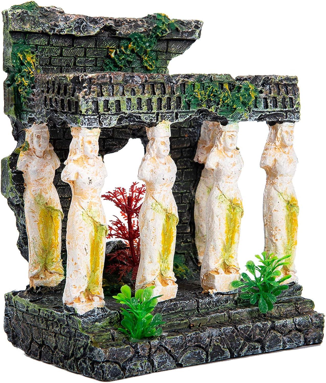 Aquarium Decorations Ancient Ruin Style Head Stone Statue for Fish Tank Ornament or Desktop Decor Accessories (Roman Ruins Style Fish Tank Decorations)