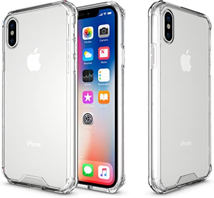 iPhone X Caso, Crystal Clear Shock Absorción Technology Jarrón transparente TPU + acrílico Cover Bumper para iPhone X- transparente