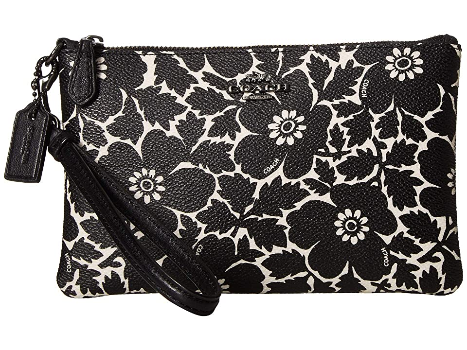 COACH Anemone Print Small Wristlet (GM/Black Multi) Wristlet Handbags