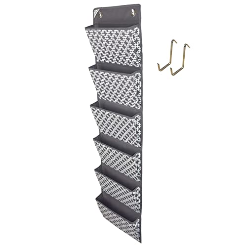 COMPONO Office Supplies Storage Organizer Includes 2 Over Door Hangers, 6 Pocket Chart for Home, Business, Clothing, and School Organizers (Trellis Pattern)