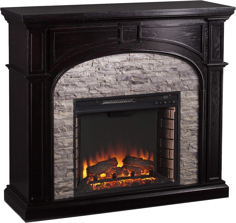SEI Furniture Tanaya Faux Stacked Stone Electric Fireplace, Ebony, Gray