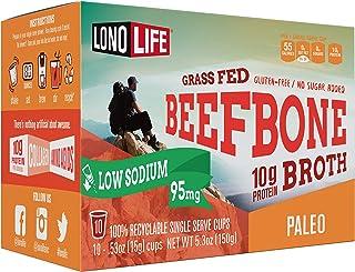 LonoLife Low-Sodium Grass-Fed Beef Bone Broth Powder with 10g Protein, Paleo and Keto Friendly, Single Serv...