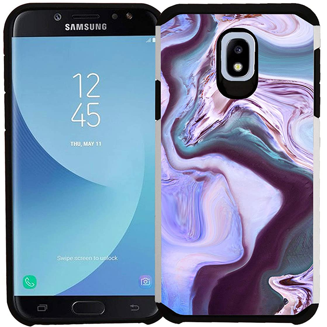 Galaxy J7 (2018) / J7 Refine / J7 V 2nd Gen / J7 Star / J7 Aura / J7 Crown Case, Dual Layer Shock Proof Bumper Protective Phone Cover - Purple Marble