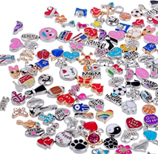 RUBYCA Wholesale 50pcs Floating Charms Lot for DIY Glass Living Memory Locket Mix Silver Gold Color