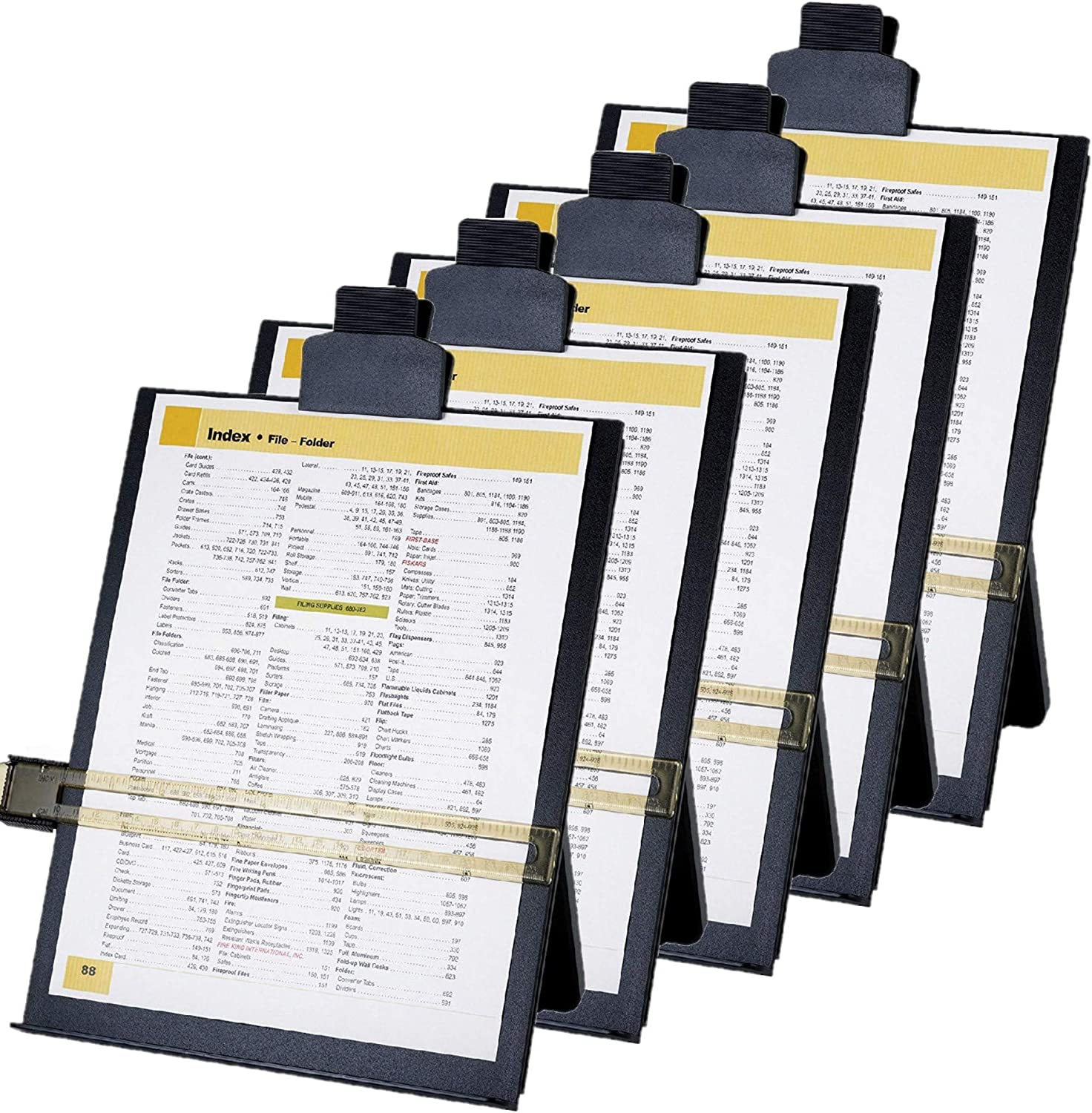 Business Source Easel Document Holders, Adjustable, 10-3 8 x 2-1 4 x 12-1 2 Inches, Black (BSN38952), 5 Packs
