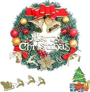 Excluronlder 16 inch Christmas Wreath for Front Door, Artificial Christmas Door Wreaths, Merry Christmas Wreath, Indoor Outdoor Christmas Decoration, Christmas Hanging Wreath for Window, Wall