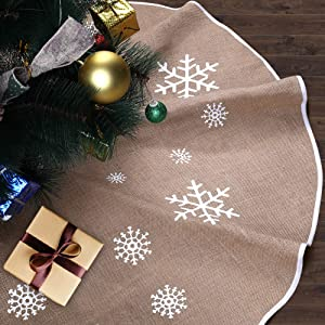 DEKINMAX Christmas Tree Skirt-48 inches, Popular Burlap And Snowflake Pattern Christmas Tree Skirt For Home Decorations ,Xmas Tree Ornaments for Xmas Party and Holiday Decorations