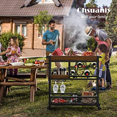 Ohsuaniy Bar CartIndustrial KitchenServing Cartsfor Home 3 Tier StorageTrolleywithWine RackGlasses HolderTwo Portable