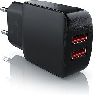 CSL-Computer Aplic - 2.1A Caricabatterie da Muro USB Dual Port - Adattatore di Ricarica 2100mA - Alimentatore Parete - Car...