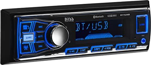 BOSS Audio Systems 611UAB Multimedia Car Stereo - Single Din, Bluetooth Audio and Hands-Free Calling, Built-in Microphone, MP3 Player, USB Port, AUX Input, AM FM Radio Receiver, - no CD DVD player,