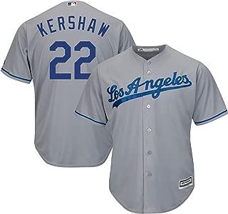 Genuine Stuff Clayton Kershaw Los Angeles MLB Majestic Youth Boys 8-20 Gray Road Cool Base Replica Jersey