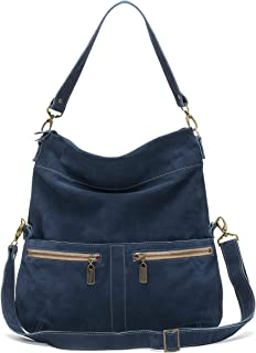product image for Navy Blue Suede Italian Leather Large Foldover Crossbody