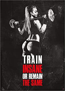 GREAT ART Motivational Workout Poster 24.4 x 16.5 in (59.4 x 42 cm) – Wall- and Fitness Poster Motivational Quotes Trainings-Room Gym – Train Insane or Remain The Same – Nr.11