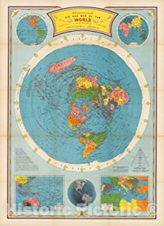 Historic Map - Air age map of the world. A polar projection, 1946 - Vintage Wall Art - 44in x 60in