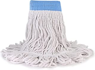 Loop-End Cotton String Mop Head, Heavy Duty String Mop Refills, 6 Inch Headband, Mop Head Replacement for Home, Industrial and Commercial Use(White)