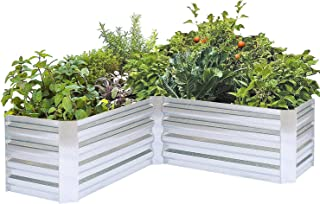 FOYUEE L-Shaped Galvanized Steel Planter Box Corner Raised Garden Bed for Vegetables Herbs L Shape Metal Outdoor