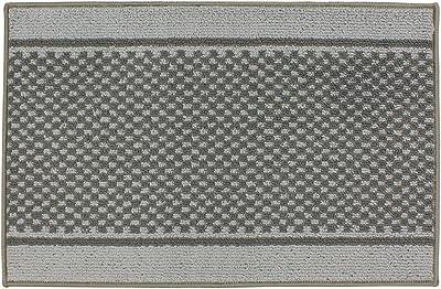 JVL Bologna Backed Machine Washable Entrance Door Mat, Polypropylene/Latex, Light Grey/Dark Grey, 57 x 90 x 1.2 cm