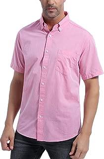 Men's 100% Cotton Short Sleeve Casual Button Down Shirt