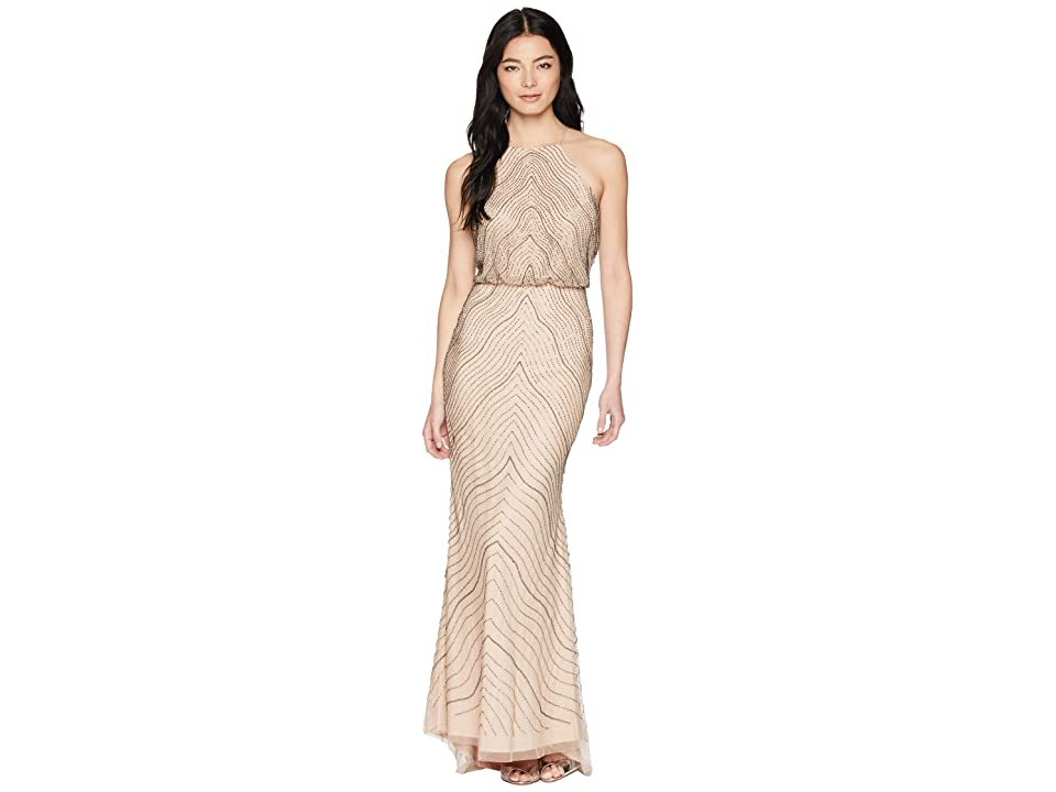 Adrianna Papell Petite New Beaded Blousson Halter Gown (Taupe/Pink) Women