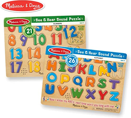 Melissa & Doug Numbers and Alphabet Sound Puzzle Bundle by Melissa & Doug