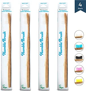 Bamboo Vegan Toothbrush [Set 4] - All Natural Wooden Toothbrushes - Organic, Eco-Friendly and Biodegradable with BPA Free Bristles - Helps Save the Planet and Kids in Need [White Adult]