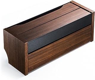 サンワダイレクト ケーブルボックス タップ収納ボックス スマホスタンド機能 充電ステーション 木目柄 ダークブラウン 200-CB006DM