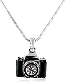 JOTW Camera Style Pendant with an 18 Inch Snake Necklace - Black or White Available