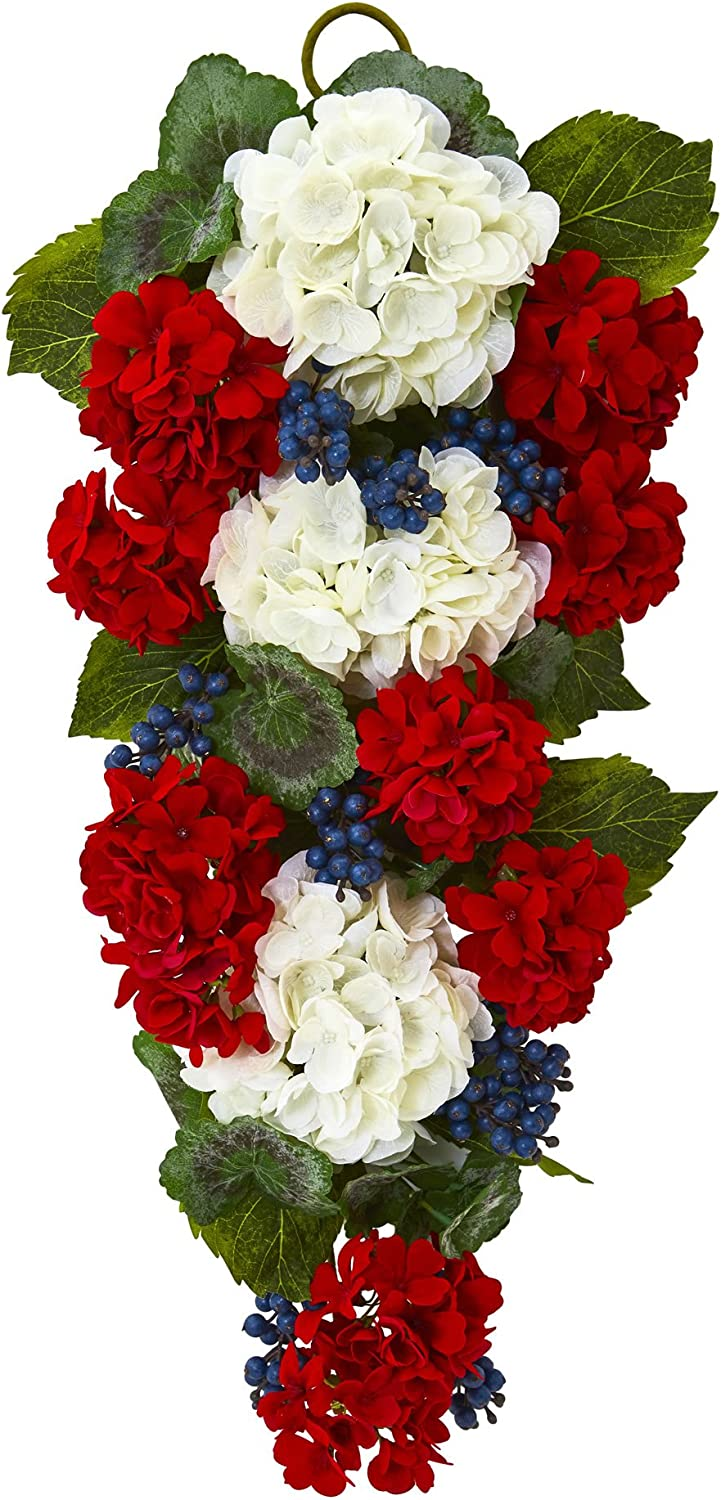 Nearly Natural 4325 26 in. Geranium and bluee Berry Artificial Teardrop Wreaths Multi
