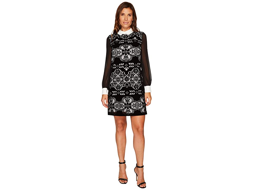 CeCe Chiffon Sleeve Velvet Lace Collared Dress (Rich Black) Women