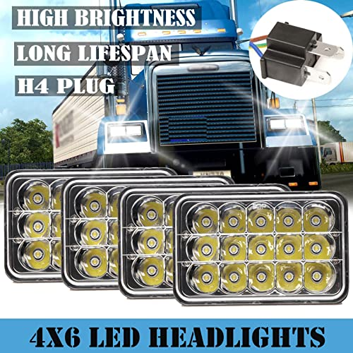 discount For Freightliner FLD120/FLD112 4''x6'' LED Headlights Sealed Beam High Low H4651 H4652 H4656 H4666 high quality H6545 H4668 H4642 Rectangular Headlamps Easy Fast outlet sale Installation, 2 Year Warranty, Pack of 4 sale