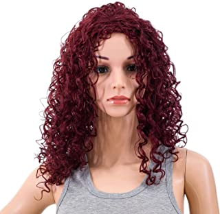 SWACC 20-Inch Long Big Bouffant Curly Wigs for Women Synthetic Heat Resistant Fiber Hair Pieces with Wig Cap (Burgundy Wine Red Mixed)