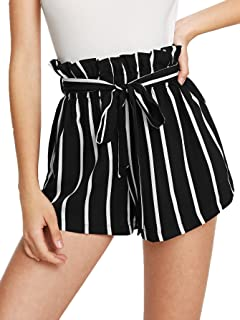 black and white striped paper bag shorts